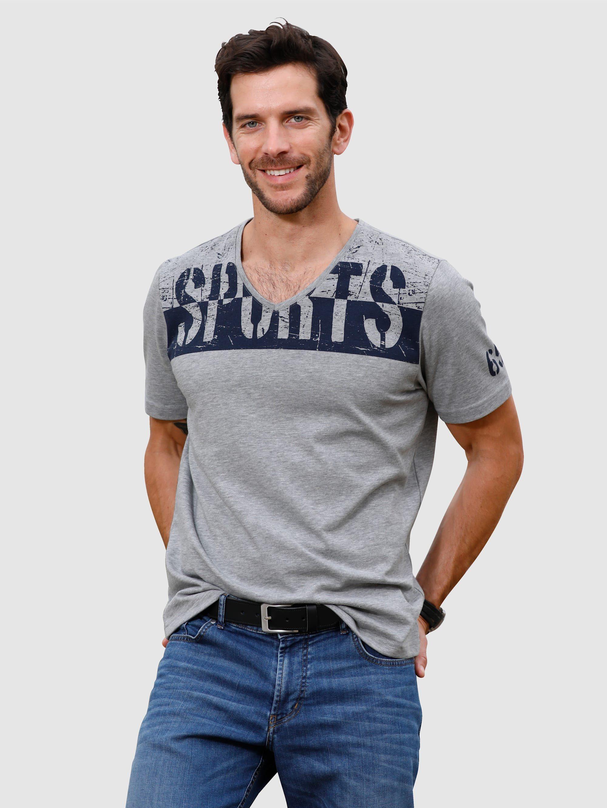 Roger Kent T-Shirt mit modischem Druck, Baumwoll-Mix lytiMG