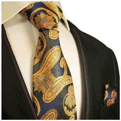 Paul Malone Krawatte »Herren Seidenkrawatte mit Tuch modern paisley brokat 100% Seide« (Set, 2-St., Krawatte mit Einstecktuch) Schmal (6cm), blau gelb gold 2025
