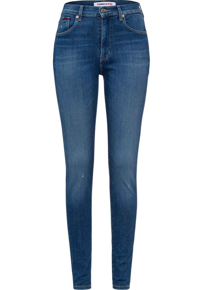 Tommy Jeans Skinny-fit-Jeans »SYLVIA NKL HR SPR SKNY BE181 GRS« mit leichten Destroyed-Effekten & Faded-out