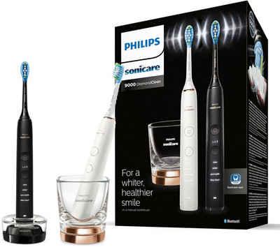 Philips Sonicare Elektrische Zahnbürste DiamondClean 9000 HX9914/57, Aufsteckbürsten: 2 St., mit Schalltechnologie, 2er Set, Ladeglas