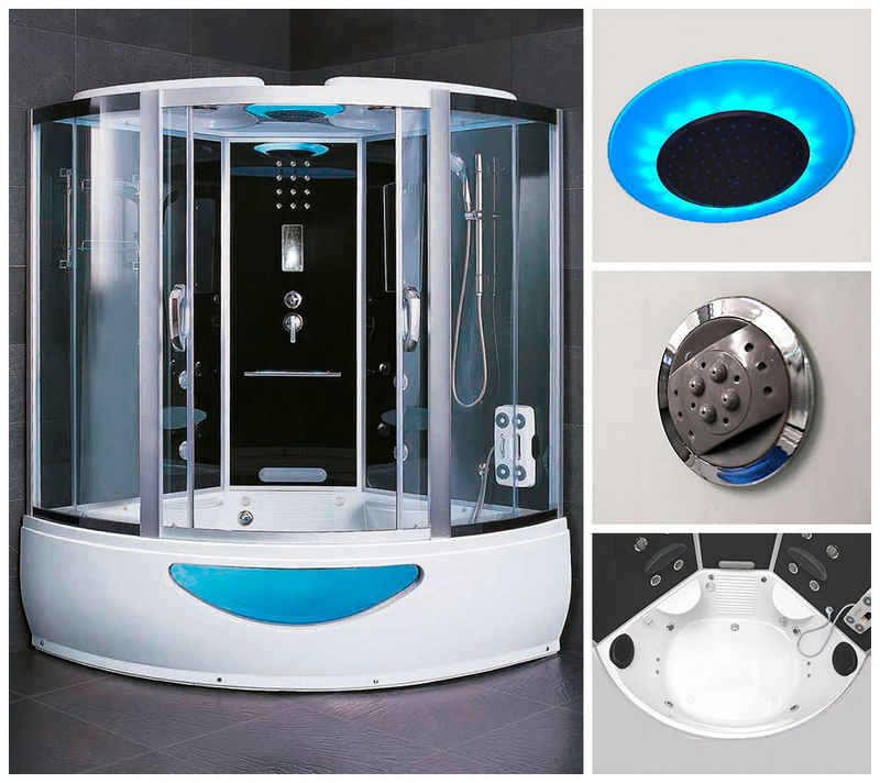 HOME DELUXE Dampfdusche, BxT: 150x150 cm, Sicherheitsglas, 1-tlg., Dusche/Wanne/Sauna/Whirpool