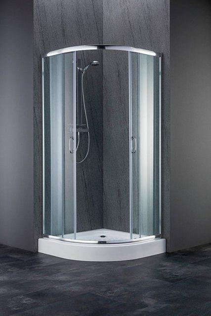 Duschen und Zubehör - welltime Runddusche »Summer«, BxT 80x80 cm, Spar Set, Inklusive Duschwanne, inkl. Duschtasse, Ablaufgarnitur und Füße  - Onlineshop OTTO
