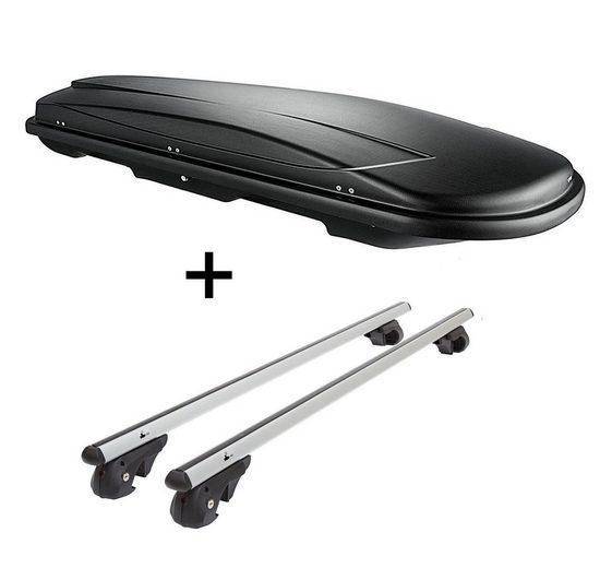 VDP Fahrradträger, Skibox VDPJUXT500 500Ltr abschließbar schwarz + Alu Relingträger VDP004L kompatibel mit BMW 3er Touring Kombi E36 95-99
