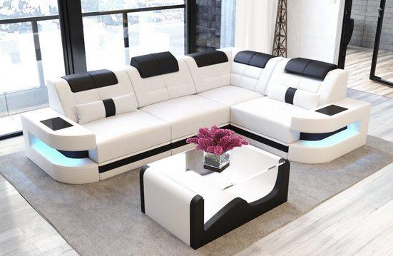 Sofa Dreams Ecksofa »Como«, L Form Ledersofa mit LED, wahlweise mit Bettfunktion als Schlafsofa, Designersofa