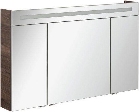 FACKELMANN Spiegelschrank »CL 120 - Ulme-Madera« Breite 120 cm, 3 Türen, LED-Badspiegel, doppelseitig verspiegelt