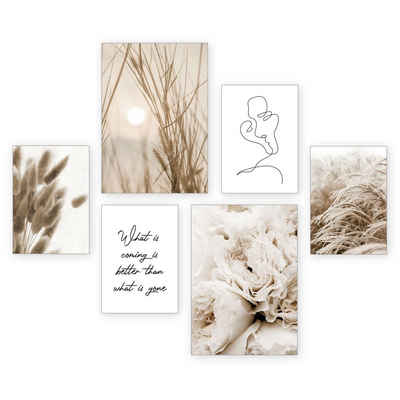 Kreative Feder Poster »Zart«, Gräser (Set, 6 Stück), 6-teiliges Poster-Set, Kunstdruck, Wandbild, Posterwand, Bilderwand, optional mit Rahmen, WP505