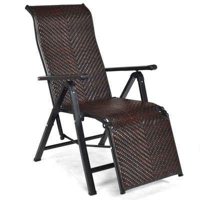 COSTWAY Relaxliege »2er Liegestuhl«, klappbar, mit verstellbaren Lehnen und Armlehne
