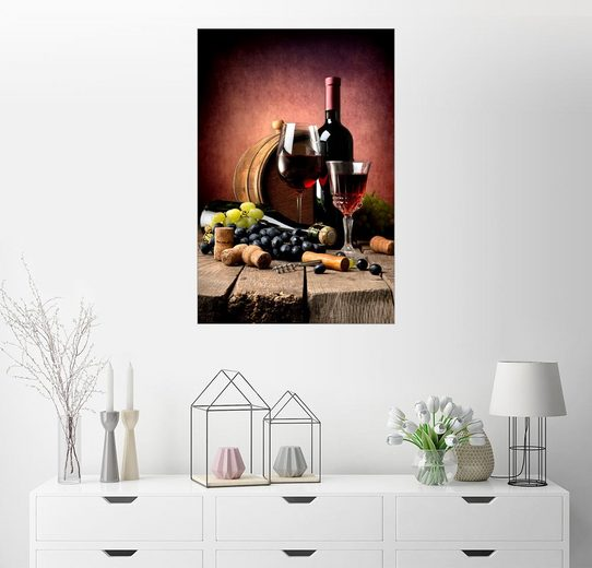 Posterlounge Wandbild, Rotwein mit Trauben und Korken