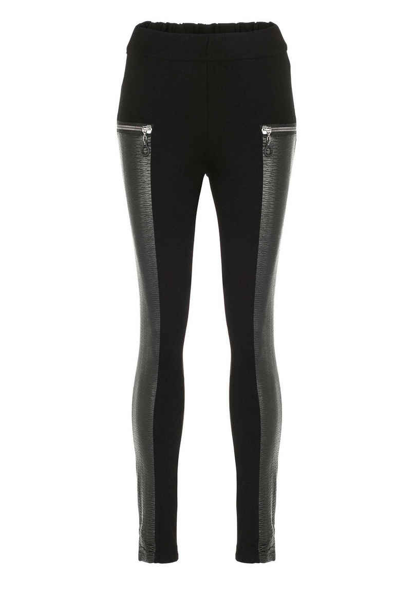 Cipo & Baxx Leggings mit trendigen Zier-Reißverschlüssen