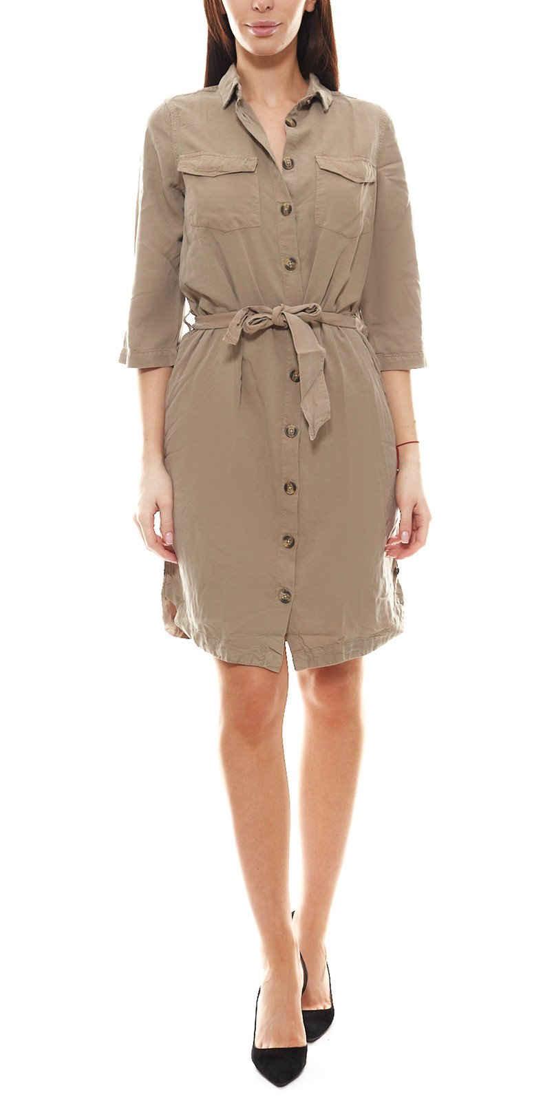Garcia Hemdbluse »GARCIA Utility-Kleid sommerliches Damen 3/4 Arm Kleid mit Hemdblusen-Kleid Freizeit-Kleid Beige«