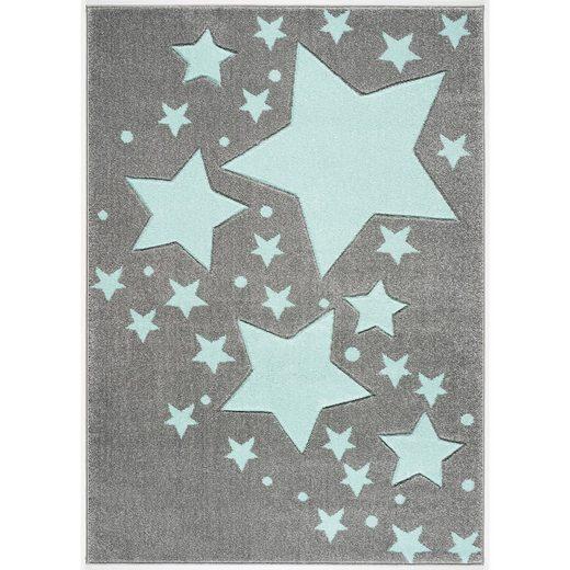 Happy Rugs Kinderteppich, STARLINE silbergrau/mint,160 x 220 cm