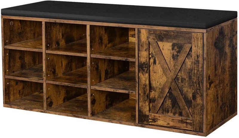VASAGLE Schuhbank »LHS058X01«, Schrank, Schuhregal mit 9 offenen Fächern, mit Polsterung, rustikale Tür, vintage