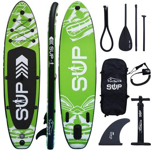 TroniTechnik SUP-Board »Aufblasbares Standup Paddle Board SUP«, Paddle Board, (6 tlg., Board, Reparatur-Set, Action Cam Halterung, Aluminium Paddel, Gepäck Spanngurt, Sicherungsschlaufe, Hochdruckpumpe, Rucksack), Anti-Rutsch-Beleg, D-Ringe zur Befestigung von Kajak Sitz