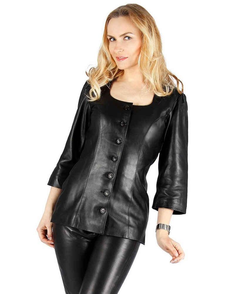 Fetish-Design Klassische Bluse »Lederbluse de luxe Bluse Schwarz Ledertop Echtes Leder«