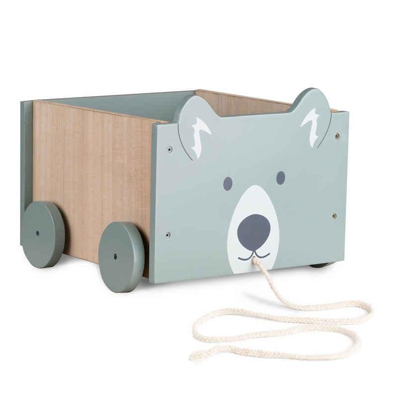 Navaris Spielzeugtruhe, Spielzeugkiste Kiste Aufbewahrung für Spielzeug - Aufbewahrungsbox für Kinderzimmer - 25,5x24x20cm Spielkiste für Kinder - mit Rädern