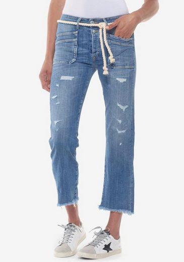 Le Temps Des Cerises Ankle-Jeans »PRICILIA-LTDC« mit Usedeffekten und Bindeband