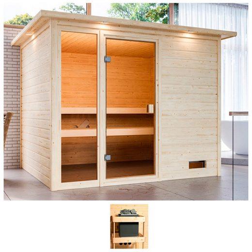 KARIBU Sauna »Kelly«, 259x210x191 cm, ohne Ofen, Dachkranz