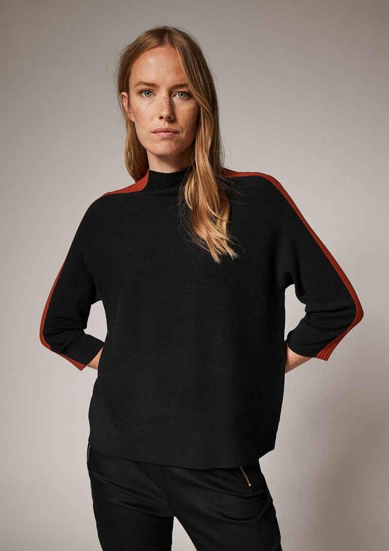 Comma 3/4 Arm-Pullover »3/4-Arm-Pullover mit Streifen« (1-tlg) Streifen-Detail