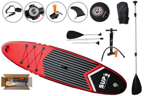 Creation Gross SUP-Board »Stand Up Paddle Board Set, SUP, belastbar bis 140kg, 320 * 81 * 15cm inkl. Paddel, Handpumpe, Rucksack, Sicherungsschlaufe, Reparaturset«, Repairkit, Rucksack, Paddel, Handpumpe