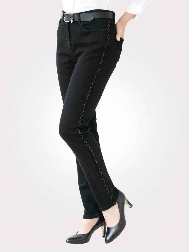 Mona 5-Pocket-Jeans mit kupferfarbenen Galonstreifen