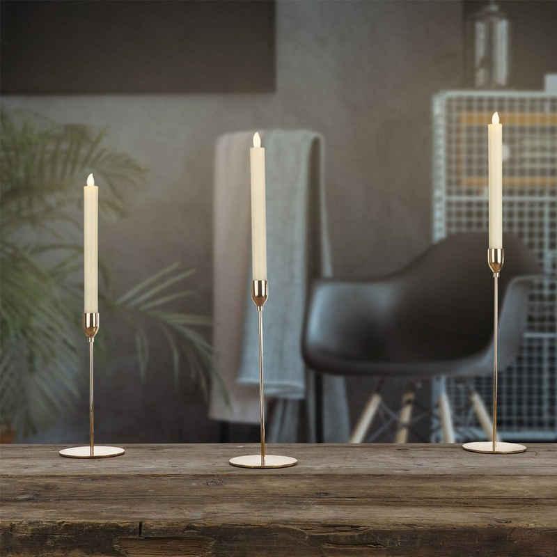 MARELIDA Kerzenhalter »Stabkerzenhalter roségold 3er Set Kerzenständer Tafelkerzenhalter Kerzenhalter« (3 Stück)