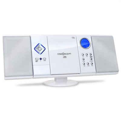 ONECONCEPT »V-12 Stereoanlage MP3-CD-Player USB SD AUX weiß« Kompaktanlage (UKW/MW Radiotuner, 0 W)