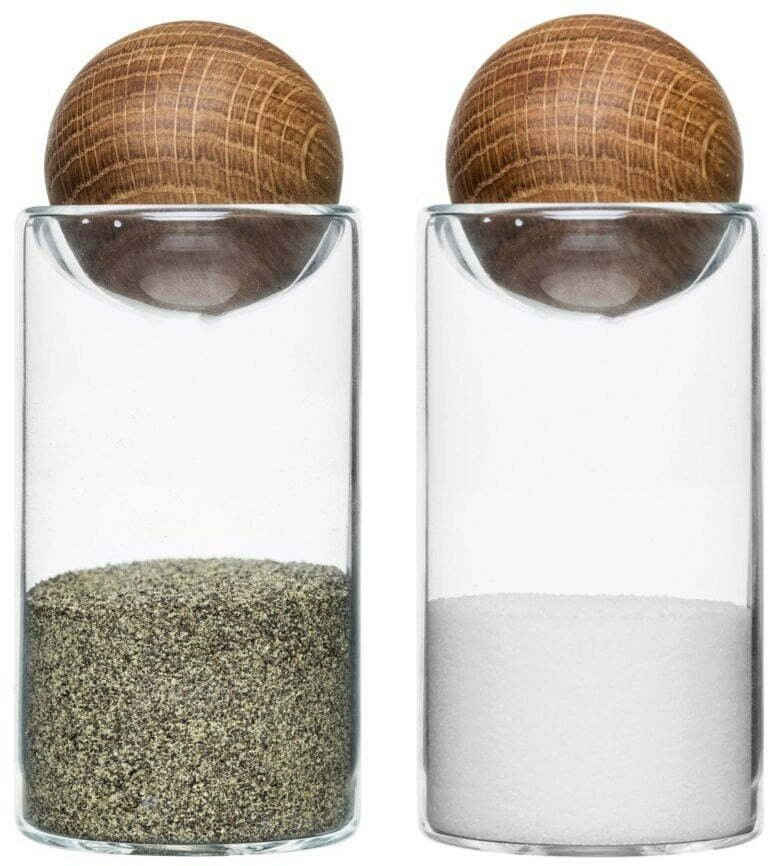 sagaform Salz- / Pfefferstreuer »Oval Oak«, (Set, 2-tlg), mundgeblasen