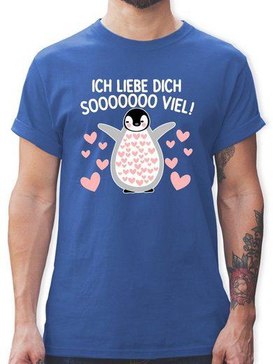 Shirtracer T-Shirt »Ich liebe dich SOOOO viel! mit Pinguin - weiß - Herren Premium T-Shirt«
