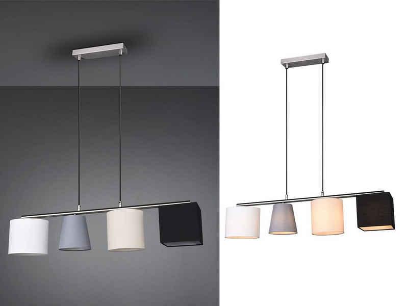 TRIO LED Pendelleuchte, mehrflammig mit Stoff-Lampenschirm hängend für über Esstisch-Lampe 4-flammige Küchen-Leuchte dimmbar Wohnzimmer Esszimmer