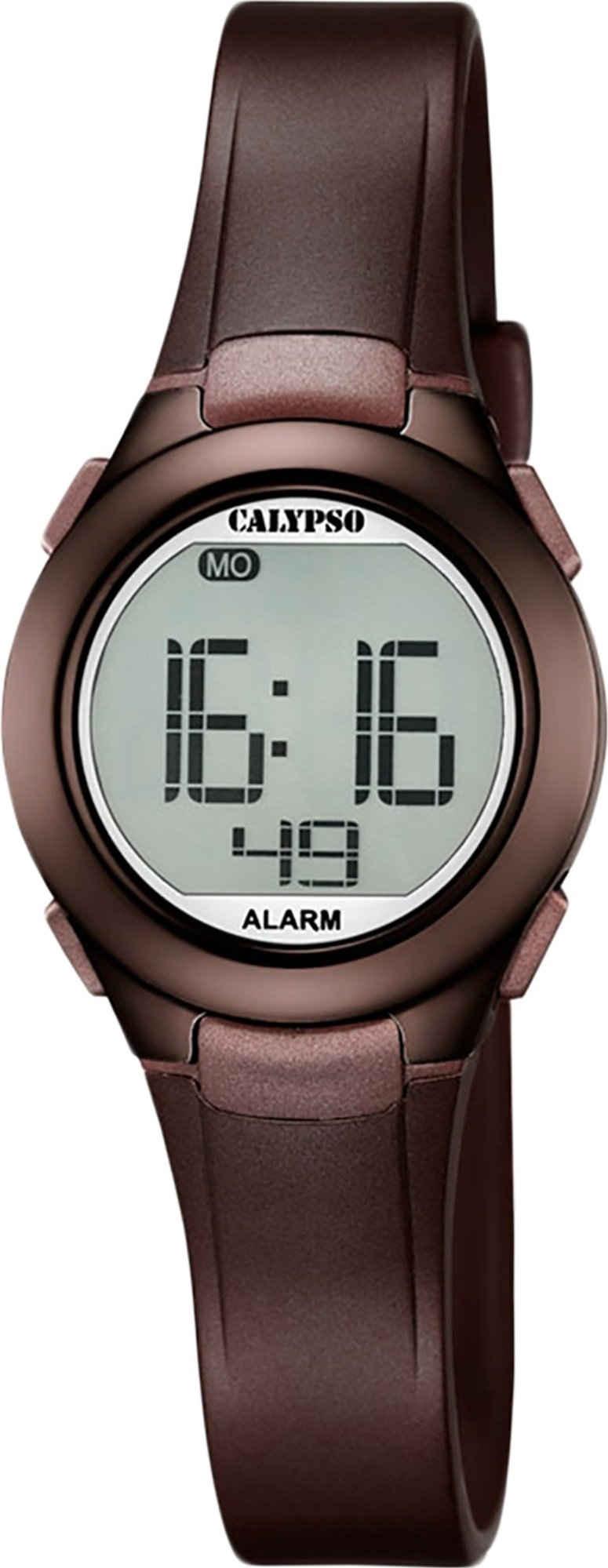 CALYPSO WATCHES Digitaluhr »UK5677/6 Calypso Damen Uhr K5677/6 Kunststoffband«, (Digitaluhr), Damen Armbanduhr rund, PURarmband braun, Sport