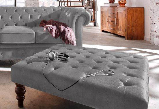 Premium collection by Home affaire Hocker »Chesterfield«, mit Knopfheftung, auch in Leder