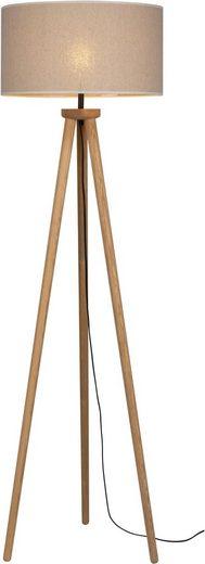 OTTO products Stehlampe »Emmo«, Stehleuchte mit massivem Dreibein aus Kiefernholz, Naturprodukt mit FSC®-Zertifikat, hochwertiger Textilschirm, Made in Europe
