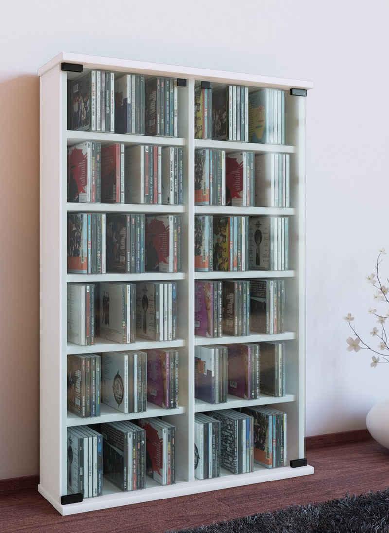 VCM CD-Regal »Holz CD DVD Stand Regal Roma mit Glastür«