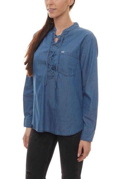 Lee® Blusentop »Lee Drawcord Bluse leichte Damen Schnür Jeans-Bluse mit Vokuhilasaum Freizeit-Bluse Blau«