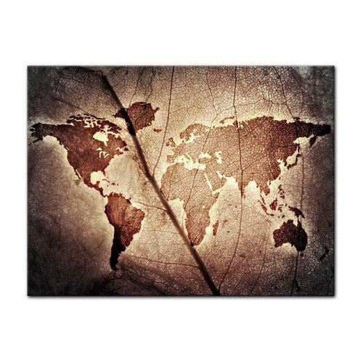 Bilderdepot24 Leinwandbild, Weltkarte Blatt