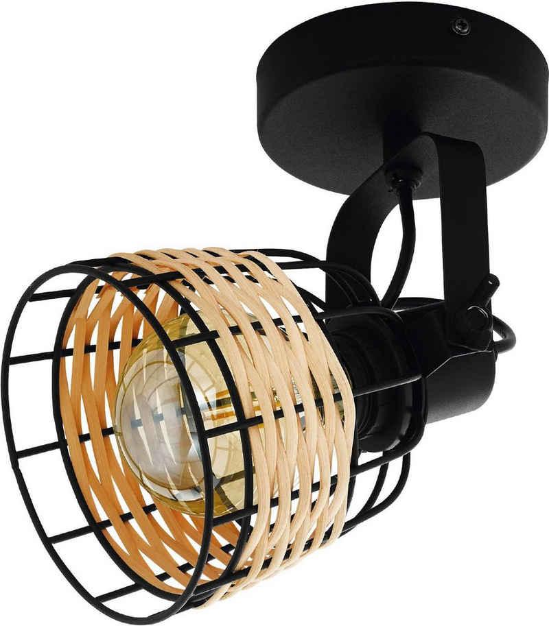 EGLO Wandstrahler »Anwick 1«, schwarz / L14 x H20 x B14 cm / exkl. 1 x E27 (je max. 40W) / Wandleuchte - Vintage - Retro - Holz geflochten - Design - Lampe - Wohnzimmerlampe - Schlafzimmerlampe - Nachttischlampe - Wandlampe