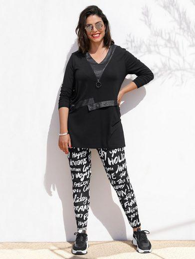 MIAMODA Longshirt mit Lederimitat-Elementen