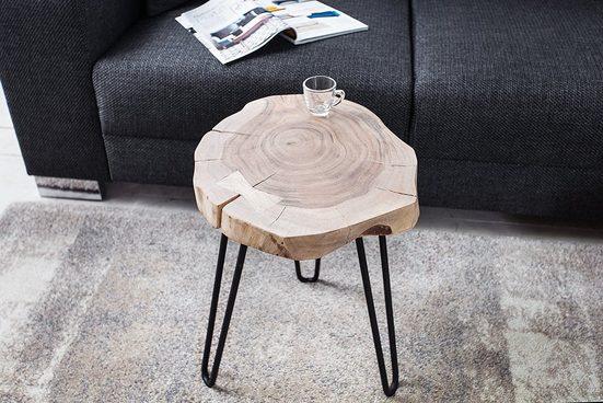 riess-ambiente Beistelltisch »GOA 38cm natur«, Massivholz · Metall · rund · Hairpin Legs · Wohnzimmer