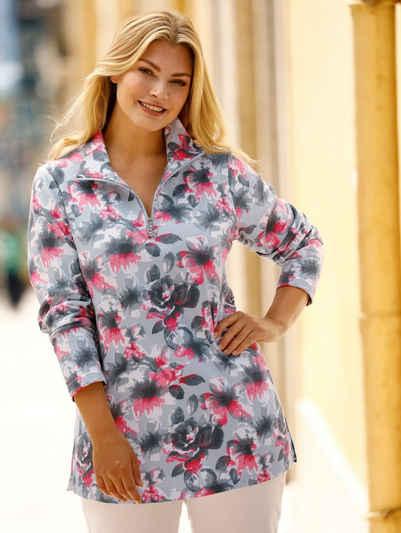 m. collection Sweatshirt rundum mit Blumendruckmuster