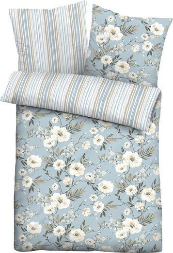 Wendebettwäsche »Ferdi«, Biberna, im Blumen-Streifen Design