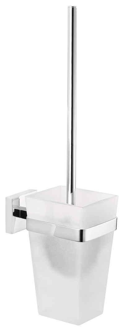 WC-Reinigungsbürste »DELUXXE Toilettenbürsten-Set, Metall, verchromt, inkl. Klebelösung«, tesa, (1-tlg), Kein Bohren, Rostfrei