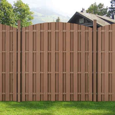 Sonnenschutz, neu.holz, blickdicht, WPC Gartenzaun Sichtschutzzaun Windschutz 185 cm hoch in verschiedenen Breiten