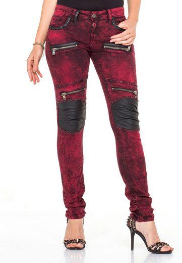 Cipo & Baxx Bequeme Jeans mit Nieten und Knie-Applikationen in Slim Fit