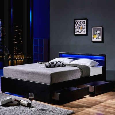 HOME DELUXE Bett »LED Bett Nube mit Schubladen« (Set, 2-St., bett mit Schubladen und Lattenrost), mit Bettkasten und Lattenrost