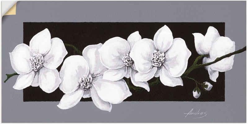 Artland Wandbild »Weiße Orchideen auf grau«, Blumen (1 Stück), in vielen Größen & Produktarten - Alubild / Outdoorbild für den Außenbereich, Leinwandbild, Poster, Wandaufkleber / Wandtattoo auch für Badezimmer geeignet