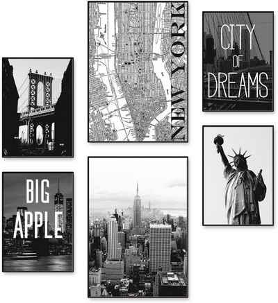 Artland Poster »Wahrzeichen von New York«, Amerika (6 Stück), Poster, Wandbild, Bild, Wandposter