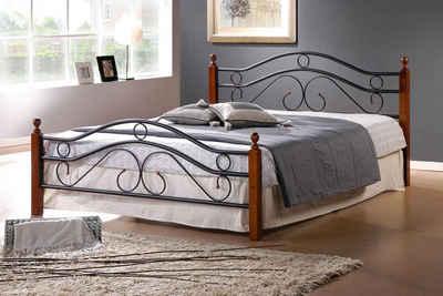 Homestyle4u Metallbett, schwarzes Eisenbett, inkl. Rollrost, verschiedene Ausführungen