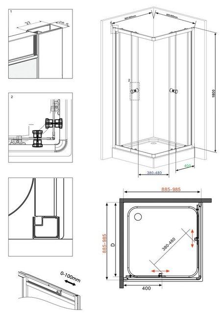 Duschen und Zubehör - WELLTIME Eckdusche »Trento«, BxT 90 100 x 90 cm, Duschkabine  - Onlineshop OTTO