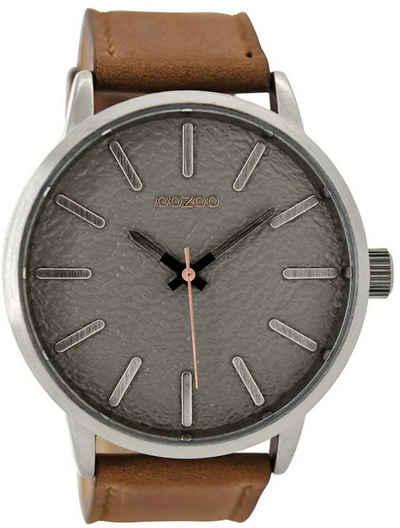 OOZOO Chronograph »UOC9025 Oozoo Herren Armbanduhr braun«, (Analoguhr), Herren Armbanduhr rund, Lederarmband braun, Fashion
