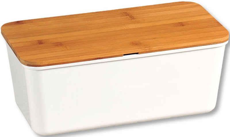 KESPER for kitchen & home Brotkasten, Melamin, Bambus, (1-tlg), mit Deckel als Schneidbrett